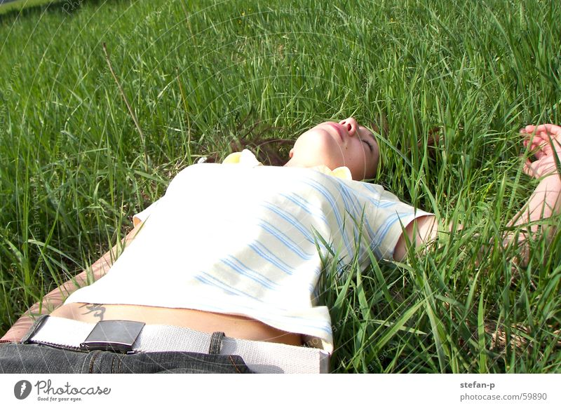 relaxation Woman Grass Meadow Summer Sun Relaxation Calm Green Well-being Lawn Nature Freedom feel good