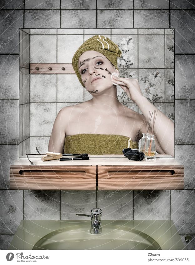 Youth (Young adults) Beautiful Green Naked Young woman 18 - 30 years Cold Face Adults Feminine Elegant Cool (slang) Touch Retro Bathroom Symbols and metaphors