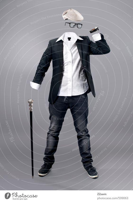 Clothes make the man Shopping Luxury Elegant Style Sculpture Fashion Shirt Jeans Jacket Wristwatch Eyeglasses Walking stick Cap Stand Esthetic Reliability Gray
