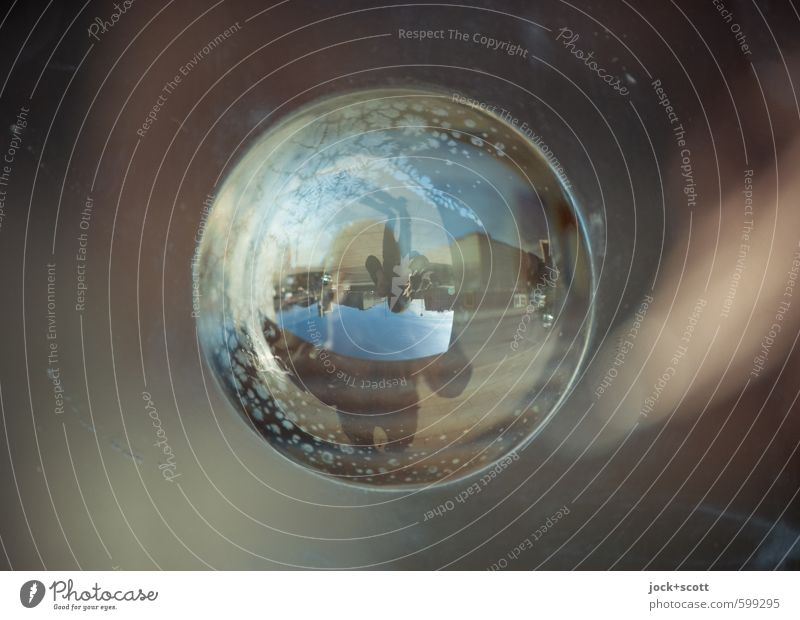 180° Panoramic view Take a photo Plastic Sphere Stand Glittering Town Curiosity Center point Whimsical Surrealism Irritation On the head Reaction Illusion