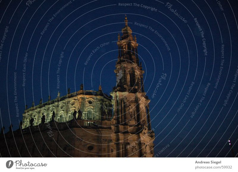 Beauty of the night Dresden Hofkirche Night Dark Black Light Moody House of worship Historic Old town Religion and faith Tower Lighting Evening Blue Elbe