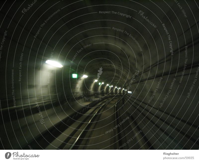Vacation & Travel Dark Railroad Speed Railroad tracks Tunnel Underground Hollow Denmark Scandinavia Copenhagen Emergency exit