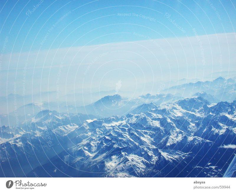 Sun Blue Airplane Fog Aviation Alps Beautiful weather Mountain