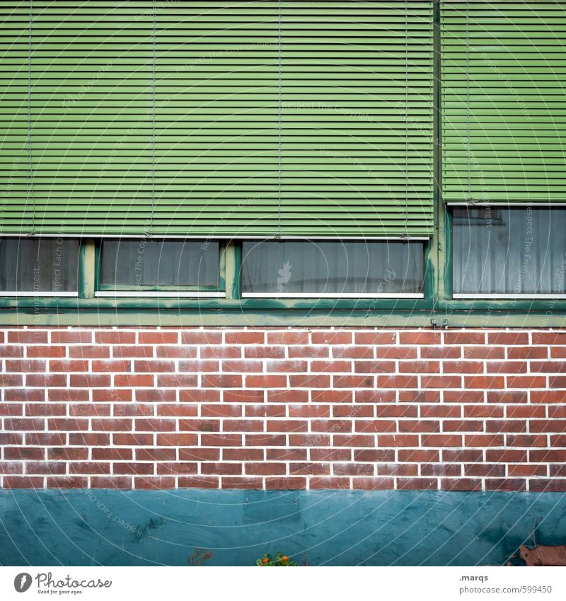 façade Style Design Building Wall (barrier) Wall (building) Facade Window Roller shutter Line Living or residing Old Simple Green Red Turquoise Colour