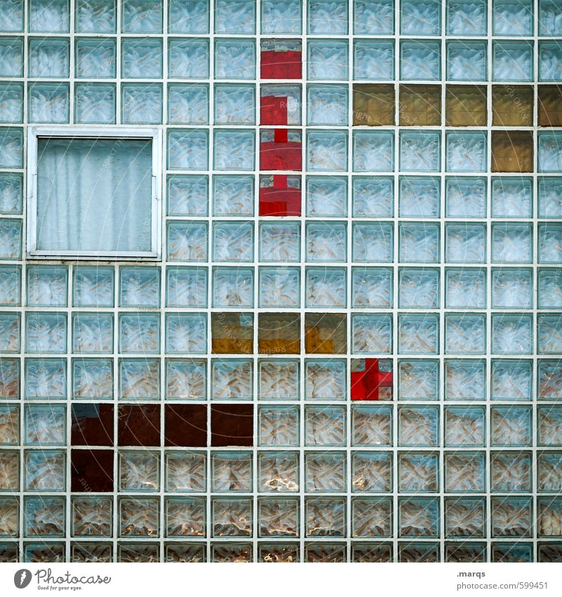 Blue Colour Red Yellow Window Style Exceptional Line Facade Elegant Design Glass Perspective Cool (slang) Stripe Retro