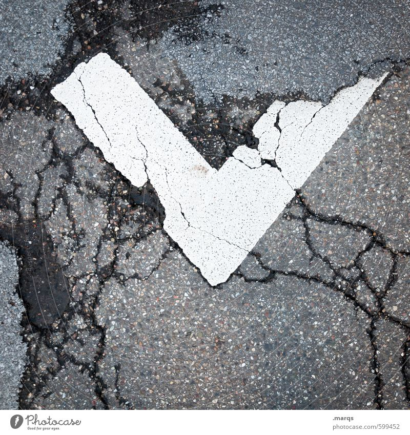 Street Gray Style Line Signs and labeling Design Perspective Characters Simple Broken Stripe Asphalt Under Crack & Rip & Tear