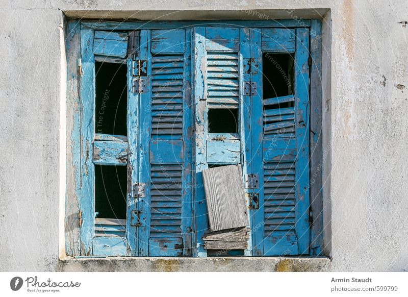 Old broken shutter from Greece Style Vacation & Travel House (Residential Structure) Wall (barrier) Wall (building) Facade Window Broken Blue Background picture