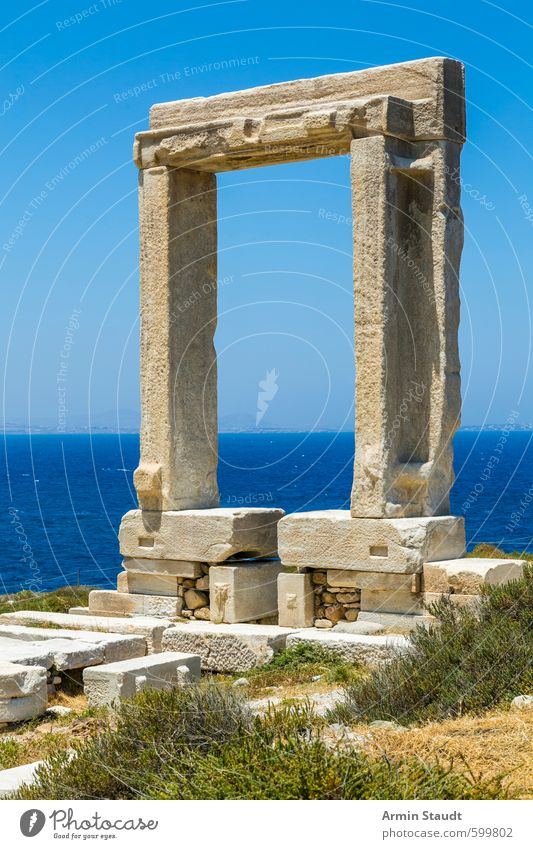 Landmark of Naxos: Temple of Apollo Vacation & Travel Tourism Trip Sightseeing Summer Summer vacation Nature Cloudless sky Beautiful weather Ocean Deserted Ruin