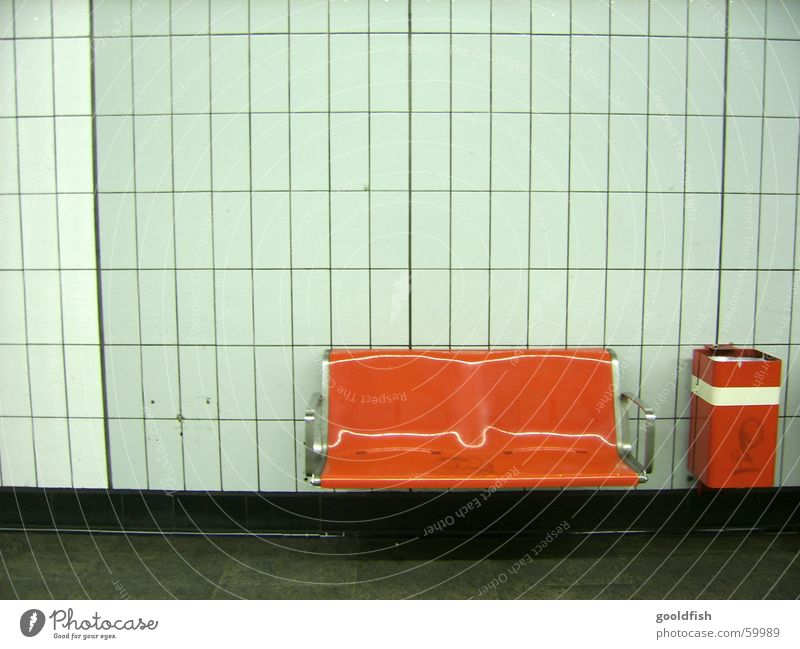 White Red Loneliness Wall (building) Orange Retro Bench Station Underground Seating Trash container