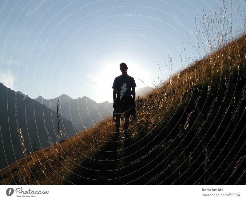 Man Sun Meadow Grass Mountain Switzerland Alpine pasture