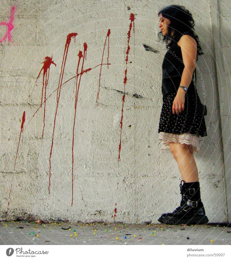you're next Wall (barrier) Red Dress Multicoloured Gray Black Colour Shot Legs Sphere