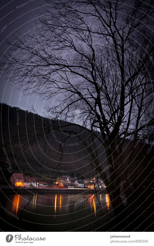 Twilight on the Neckar River Landscape Winter Hill Village Threat Dark Violet Black Moody Sadness Death Loneliness End Mysterious Grief Divide Colour photo
