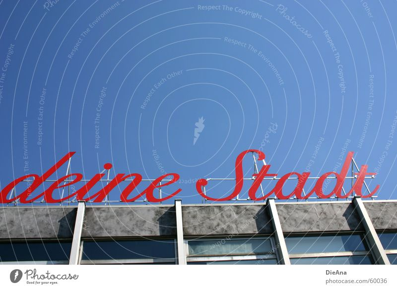 Sky Blue City Red Letters (alphabet) Cologne Typography Beautiful weather Word Rhine Cologne-Deutz