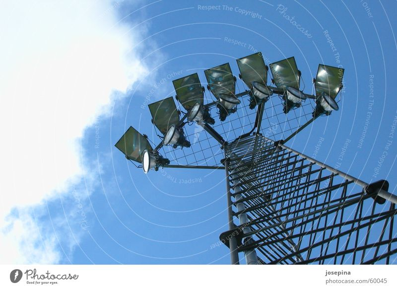 Sky Blue White Clouds Dark Style Lamp Bright Fresh Steel Electricity pylon Fight Racecourse Grating Sportsperson Scaffold