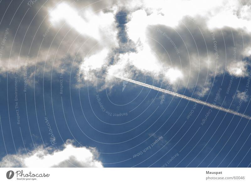Flyer, greet me the sun Airplane Stripe Clouds Sky Sun