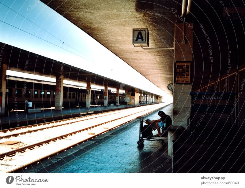 nix dolce vita Vacation & Travel Platform Italy Back-light Railroad tracks Gloomy Grief Driving Train station Wait Car stolen Sun bernd on the baggage car