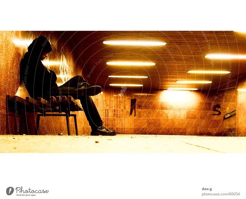 Loneliness Lamp Orange Wait Bench Dresden Tunnel Neon light Saxony Warm light