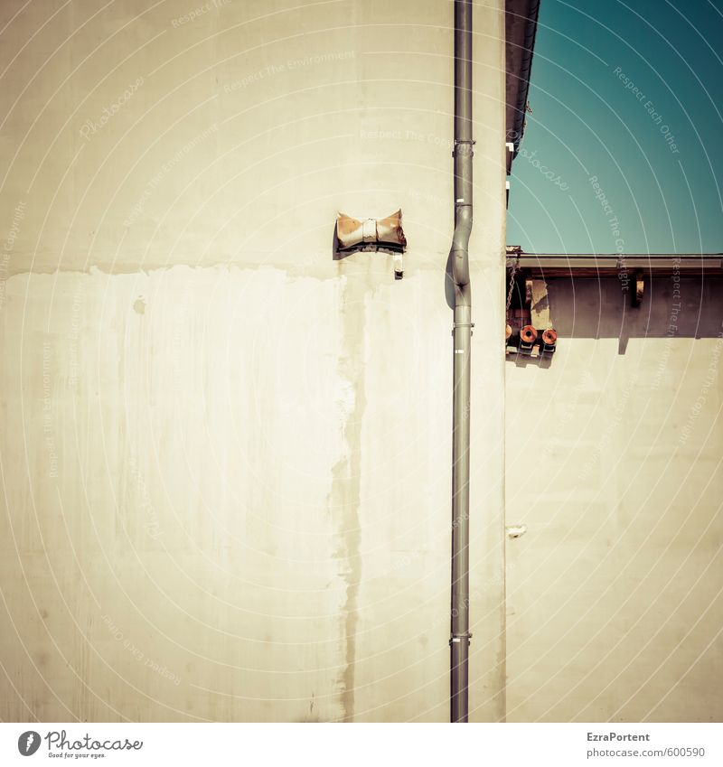 Sky Blue Old House (Residential Structure) Yellow Wall (building) Building Wall (barrier) Architecture Gray Line Art Metal Facade Dirty Concrete
