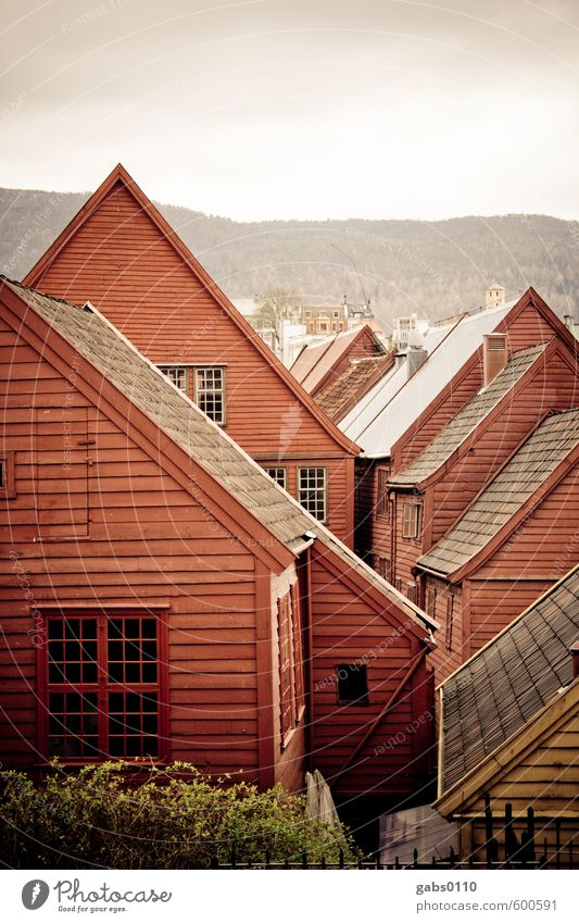 Bryggen House building Village Fishing village Wood Dream Living or residing Old Historic Sustainability Red Colour Idyll Town House (Residential Structure)