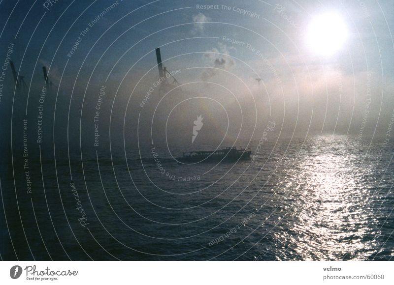 Water Sky Clouds Fog Hamburg Harbour Wanderlust Crane Diffuse Launch