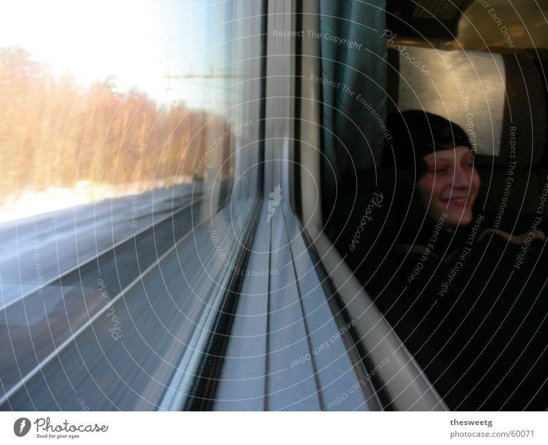 Vacation & Travel Window Laughter Railroad Vantage point Window pane In transit Passenger Train travel Train window