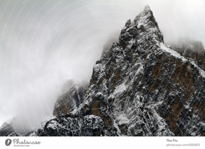 Nature Vacation & Travel Landscape Clouds Winter Mountain Cold Snow Rock Weather Ice Hiking Wind Europe Italy Threat