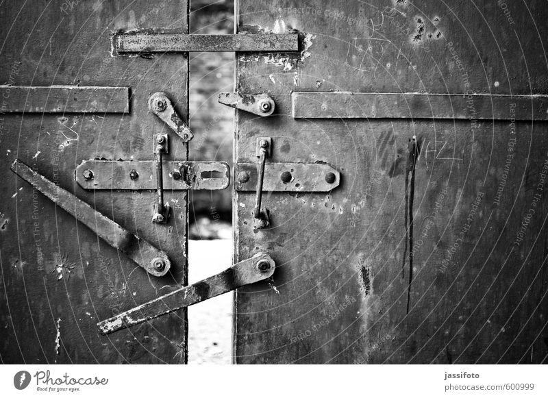 iron door Industrial plant Factory Ruin Door Metal Steel Rust Curiosity Industrial wasteland The Ruhr Door handle Slightly open door locking Derelict morbid