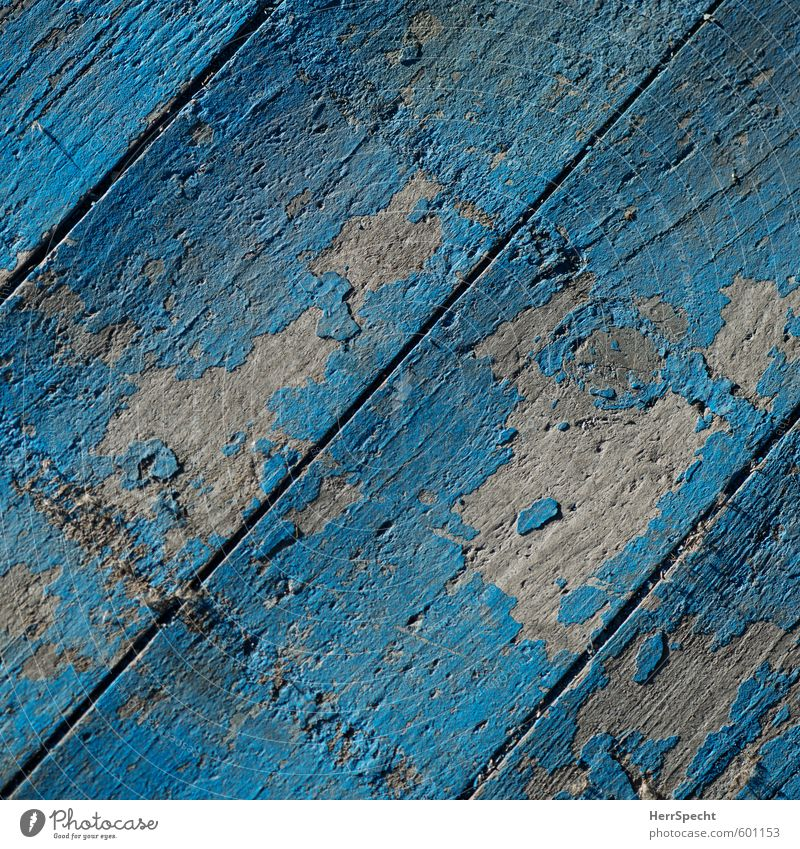 Boards that don't mean the world Terrace Wood Old Trashy Gloomy Blue Turquoise Wooden board Parquet floor Dye Flake off Abrasion Patina Wood grain Stage