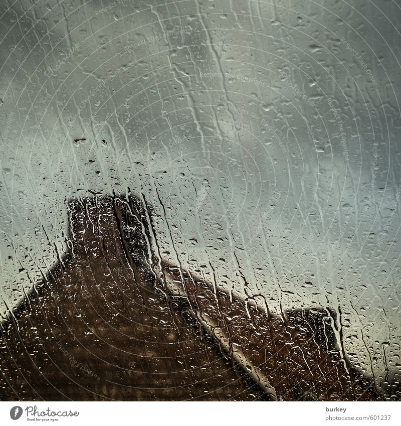 autumn storm Drops of water Clouds Autumn Bad weather Storm Rain Small Town Detached house Window Roof Chimney Stone Brick Sadness Wait Dark Cold Wet Blue Brown