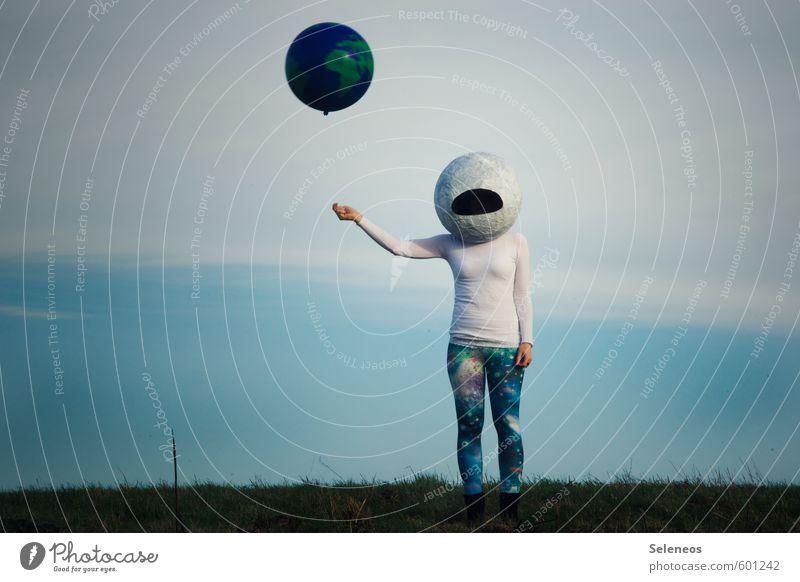 Wanderlust. Trip Adventure Human being 1 Environment Nature Sky Clouds Grass Aviation Universe Earth Planet Astronaut Helmet Sweater Leggings Balloon