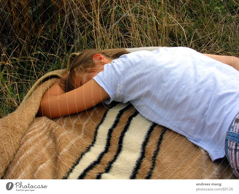 Woman Relaxation Grass Field Sleep Blanket
