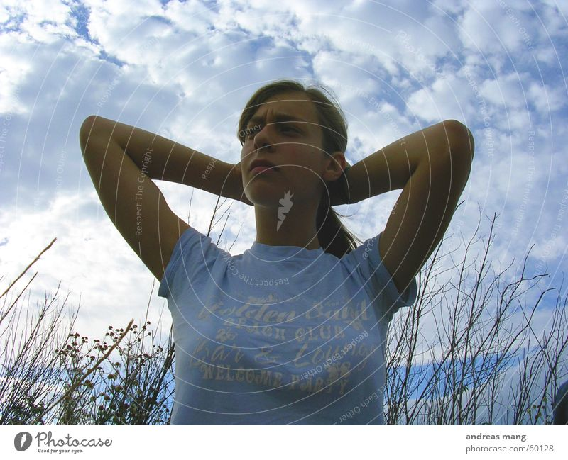 Woman Sky Clouds Grass Hair and hairstyles Think Field