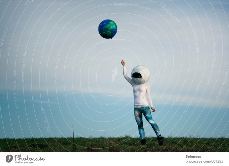 Human being Sky Clouds Far-off places Grass Freedom Earth Flying Aviation Trip Adventure Infinity Tights Sweater Planet