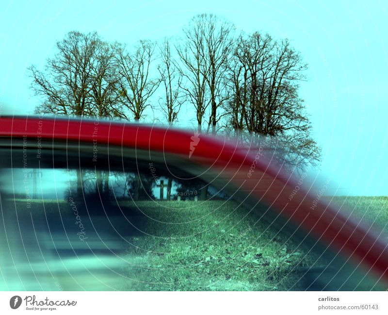 I've got a fool driving through my picture. Tree Dark Black Threat Clump of trees Grave Tomb Monument Remember Red Speed Back Car Dynamics through the picture