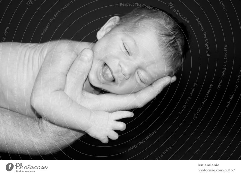 Man Hand Baby Child Father Family & Relations Parents Safety (feeling of) Cry Newborn