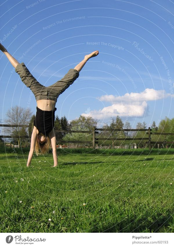 high up Handstand Meadow Happiness Summer Clouds Fence Gymnastics On the head Joy Blue sky Sports Sky Human being Free Freedom