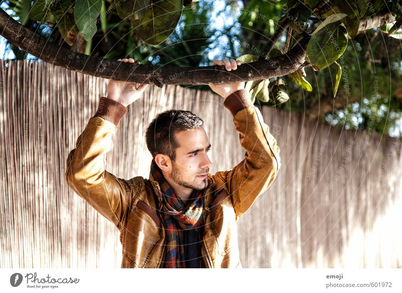 hey Masculine Young man Youth (Young adults) 1 Human being 18 - 30 years Adults Jacket Leather Scarf Beautiful Warmth Colour photo Exterior shot Day