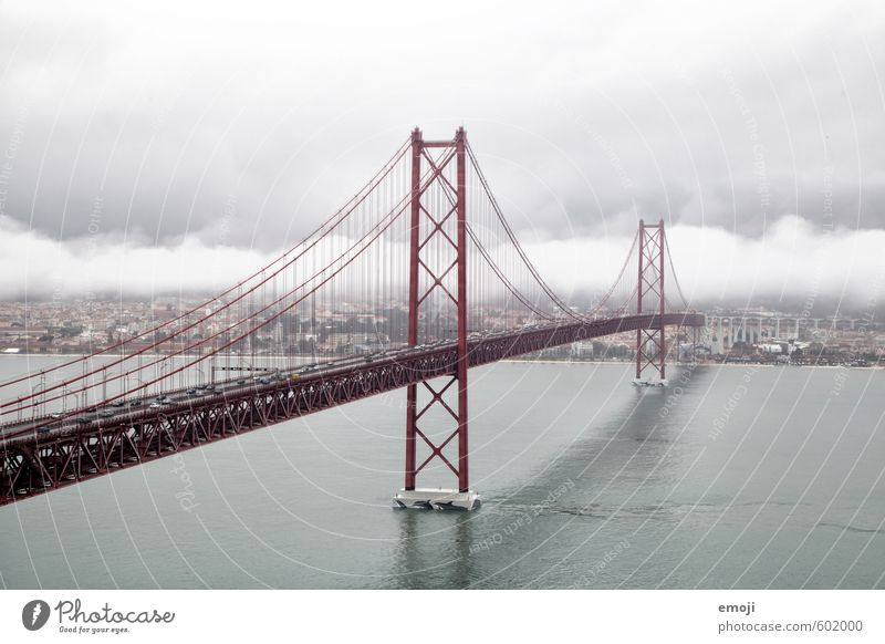 Sky City Red Clouds Gray Fog Bridge River Storm River bank Tourist Attraction Capital city Bad weather Port City Outskirts Lisbon
