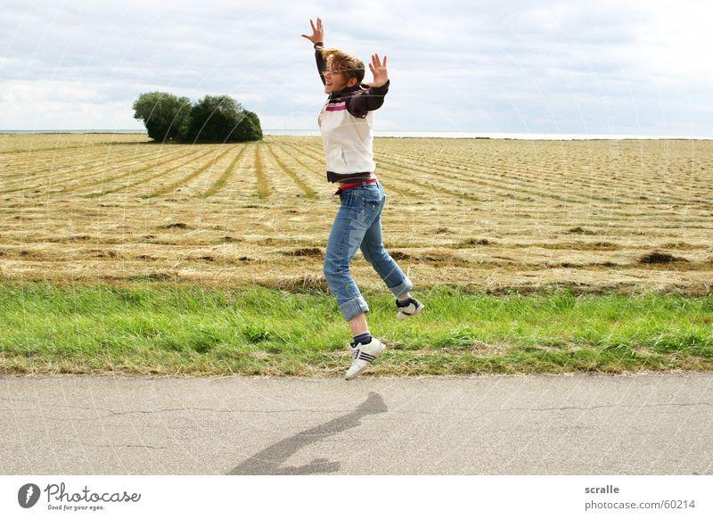 Woman Joy Emotions Jump Coast Hop Denmark