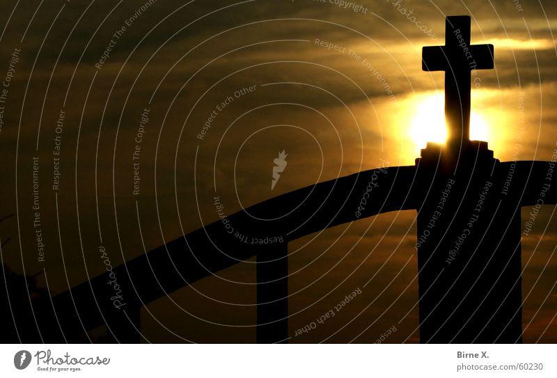 Sun Religion and faith Back Gate Christian cross Crucifix Dusk Iron God Deities Christianity Wrought iron Wrought ironwork Iron gate