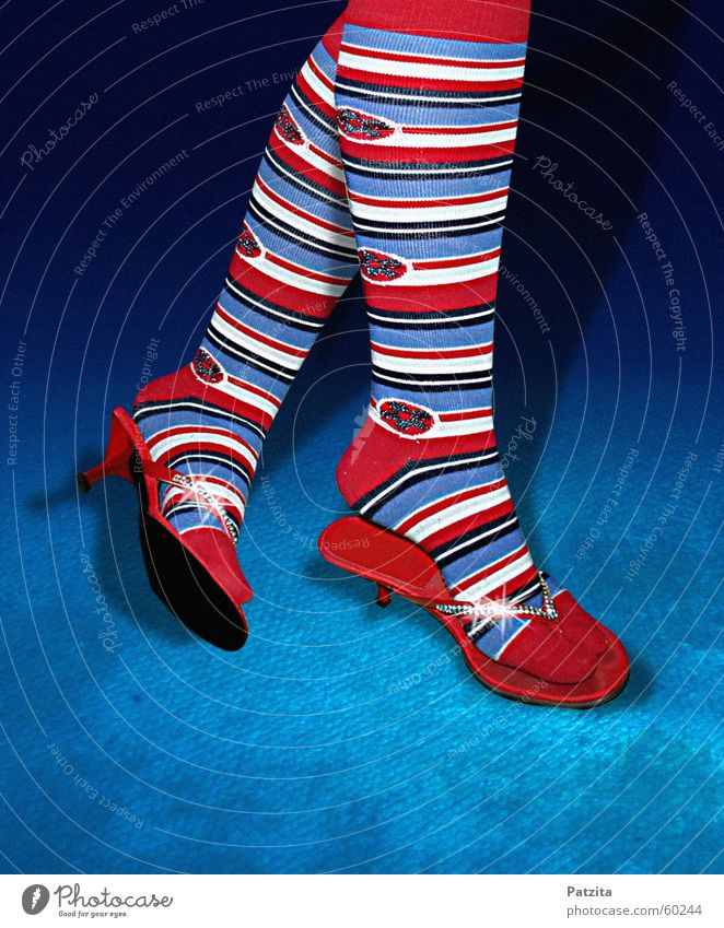 White Blue Red Colour Feet Legs Lighting Glittering Stripe Joie de vivre (Vitality) Jewellery Stockings Toes Carpet Diamond
