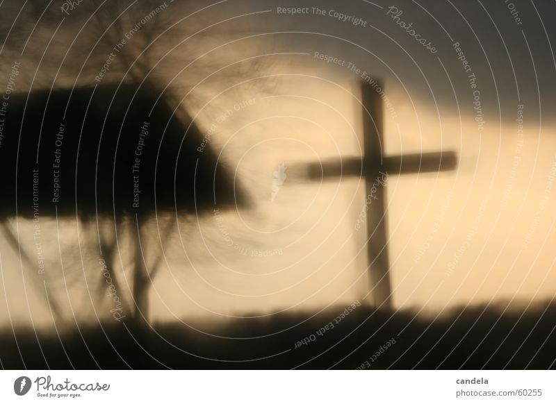Cross II Dark Gray Public Holiday Grief Hill Back Rain Hail Blur Light (Natural Phenomenon) cross Contrast Sky wave Sadness Gothic style