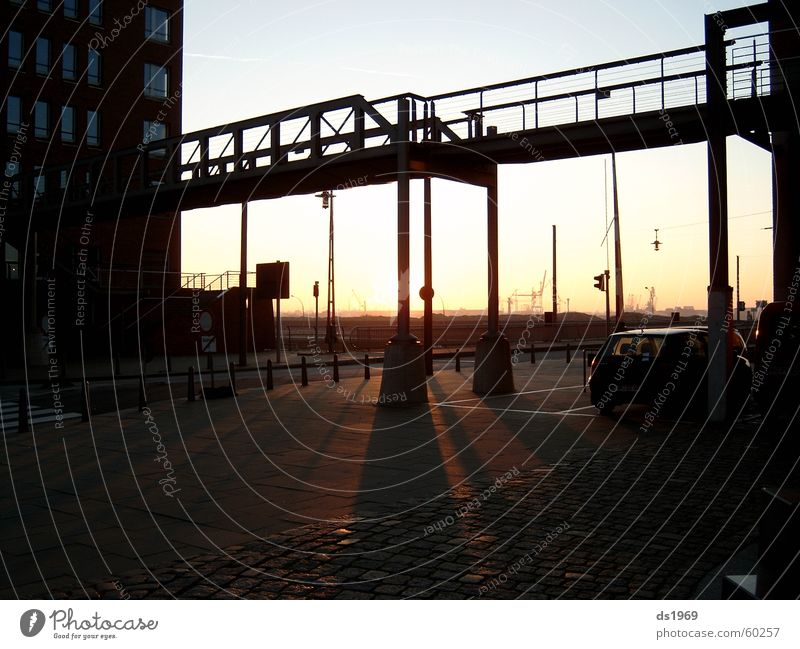 Sunrise in the Hafencity Europe Harbor city Steel Impression Exterior shot Back-light Hamburg Harbour Elbe Stairs Shadow Bridge Freedom