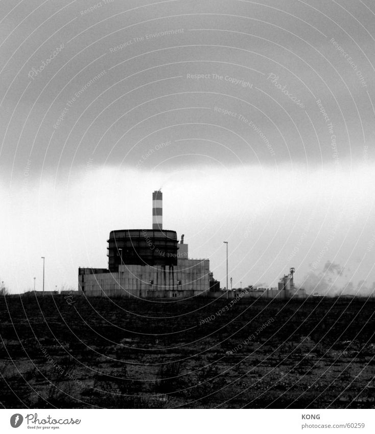 akw out of order Gloomy Dark Badlands Factory Arneburg kkw Black & white photo Industrial Photography Electricity generating station Chimney steeper powerplant