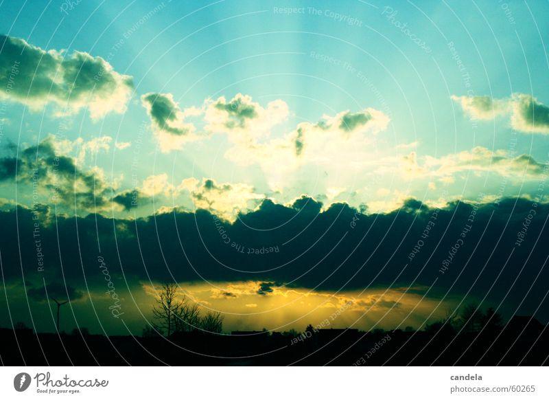 sunset Sunset Clouds Sunbeam Blue Sky cross reversal development