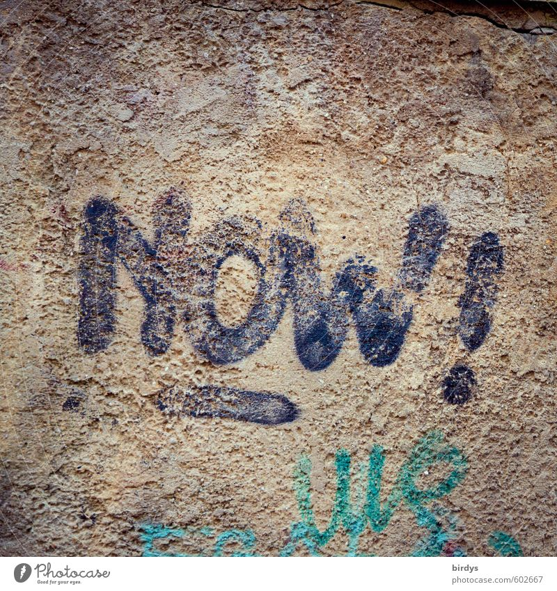 real time Graffiti Wall (barrier) Wall (building) Characters Positive Trashy Authentic Beginning Resolve Life Time Present Day Colour photo Subdued colour