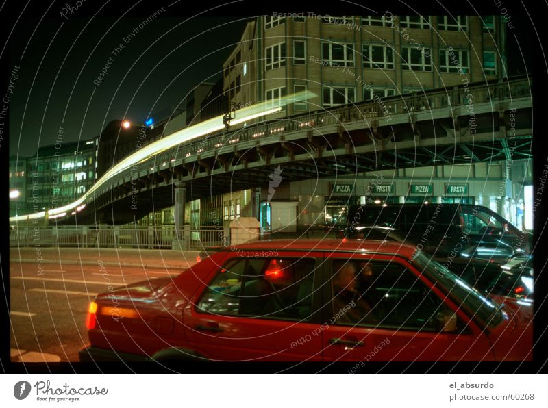 In the land of rocket worms. Worm Light Night Long exposure Exposure Hamburg Railroad Car Street