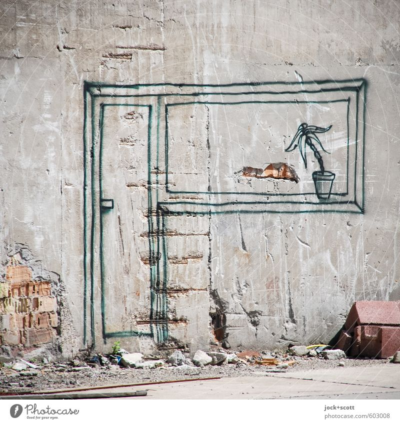 Dream of more beautiful live Dream trip Dream house Living room Construction site Subculture Wall (barrier) Wall (building) Concrete Graffiti Line Firm Bright