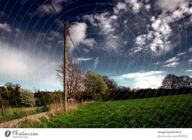 Sky Clouds Meadow Grass Landscape Countries Electricity pylon