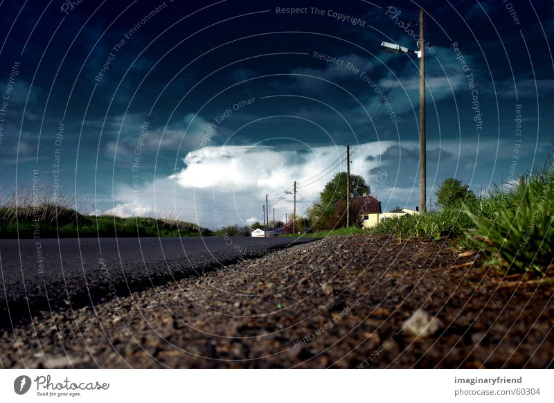 Sky Clouds Street Meadow Grass Rain Landscape Weather Transport Gale Countries Thunder and lightning Electricity pylon Water ditch Road ditch